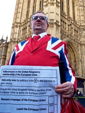 Union Jacket Protest outside Parliament